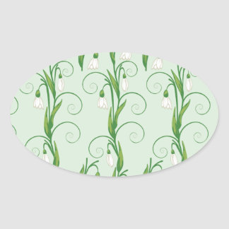 White Snowdrop Flowers Oval Sticker