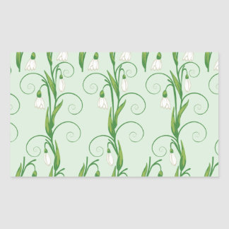 White Snowdrop Flowers Rectangular Sticker