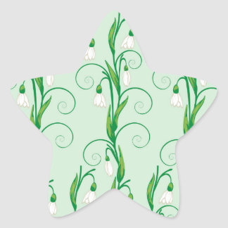 White Snowdrop Flowers Star Sticker