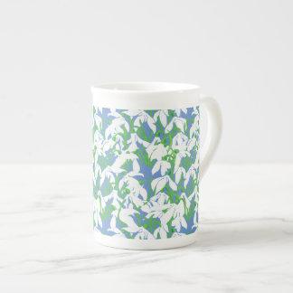 White Snowdrops on Powder Blue Floral Pattern Bone China Mug