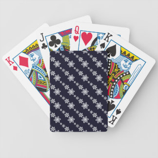 White Snowflake Chain Pattern Dark Blue Bicycle Playing Cards