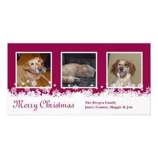 White Snowflake Christmas red holiday custom Customised Photo Card