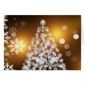 White Snowflake Christmas Tree Gold Advent Card