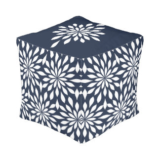 White Snowflake Flowers on Dark Blue Pouf