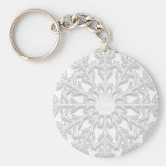 White Snowflake Key Ring