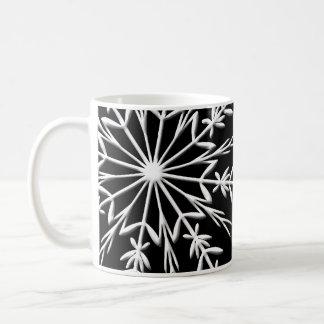 White Snowflake on Black Happy Holidays Coffee Mug
