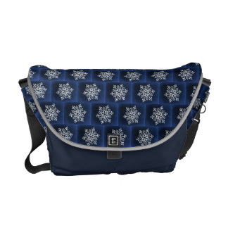 White Snowflake On Blue Courier Bag