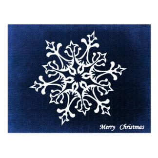 White Snowflake On Blue Merry Christmas Postcard
