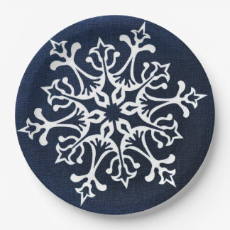 White Snowflake On Blue Paper Plate