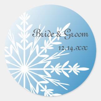 White Snowflake on Blue Winter Wedding Round Sticker