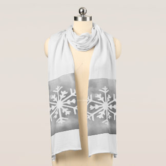 White snowflake on Gray Watercolor Background Scarf