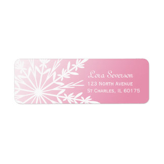 White Snowflake on Pink Return Address Return Address Label