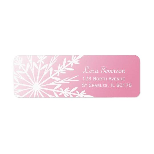 White Snowflake on Pink Return Address Return Address Label