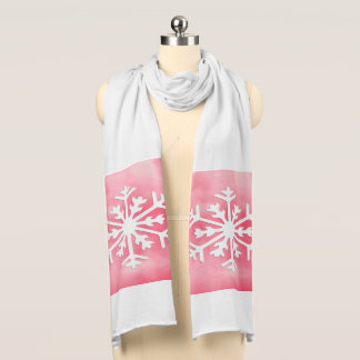 White snowflake on Pink Watercolor Background Scarf