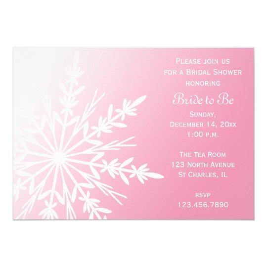 White Snowflake on Pink Winter Bridal Shower Card