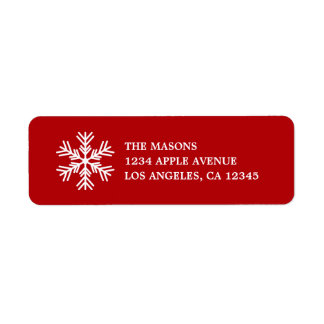 White Snowflake On Red Return Address Label