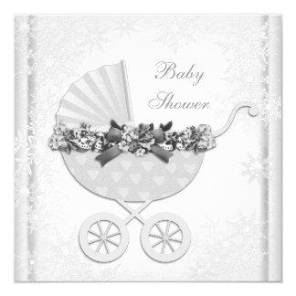 White Snowflake Winter Wonderland Baby Shower 13 Cm X 13 Cm Square Invitation Card