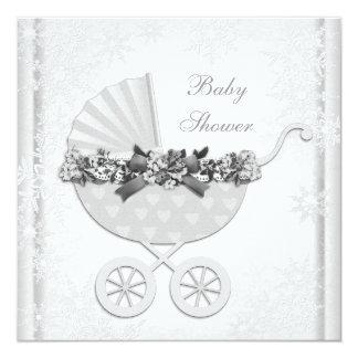 White Snowflake Winter Wonderland Baby Shower Invites