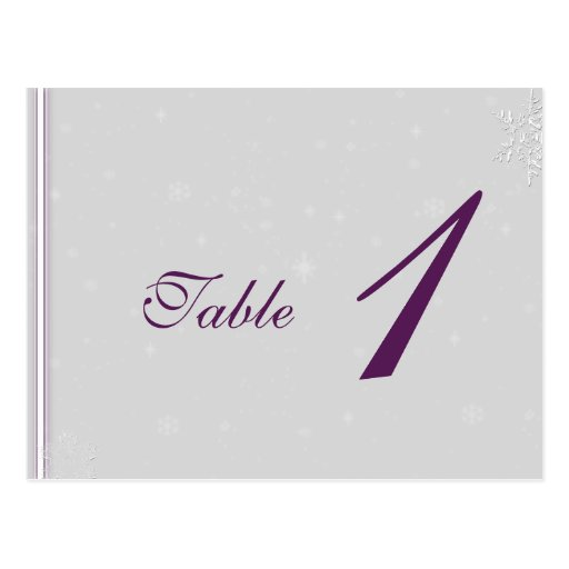 White Snowflakeon Silver Eggplant Table Number Postcard