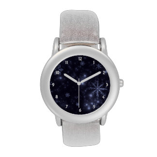 White Snowflakes and Midnigh Blue Background Watch