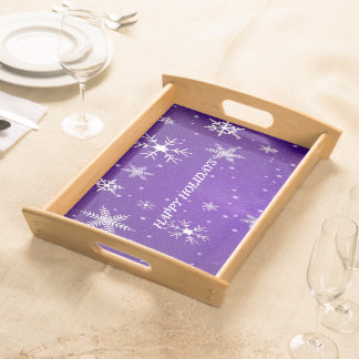 White Snowflakes Blue Backgrd Large Serving Tray