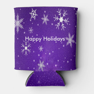 White Snowflakes Blue Background Can Cooler