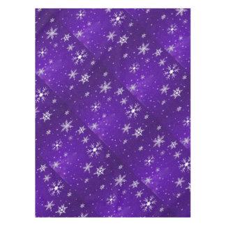White Snowflakes Blue Background Cotton Tablecloth