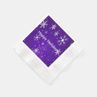 White Snowflakes Blue Bkgrd Cocktail Paper Napkins