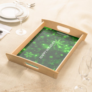 White Snowflakes Deep Green Large Serving Tray