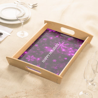 White Snowflakes Deep Purple Large Serving Tray