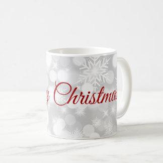 White Snowflakes Light Gray Christmas Mug