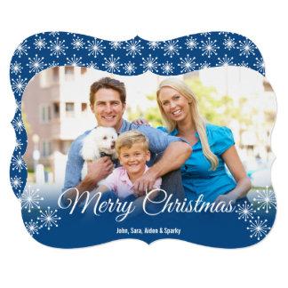 White Snowflakes on Blue Photo Christmas Greeting Card