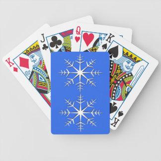 White Snowflakes on Blue Poker Deck