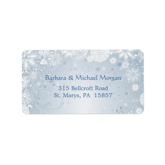 White snowflakes on blue Return address Label