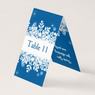 White snowflakes on blue Table number, place card