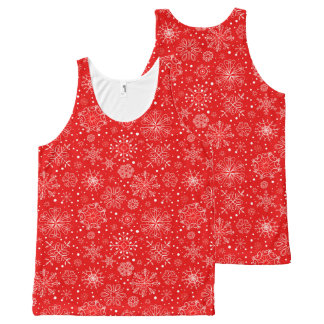 White Snowflakes on Christmas Red All-Over Print Singlet