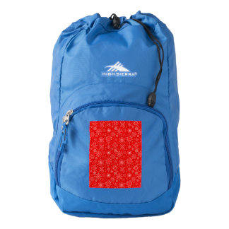White Snowflakes on Christmas Red Backpack