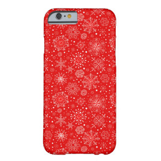 White Snowflakes on Christmas Red Barely There iPhone 6 Case