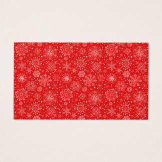 White Snowflakes on Christmas Red Business Card