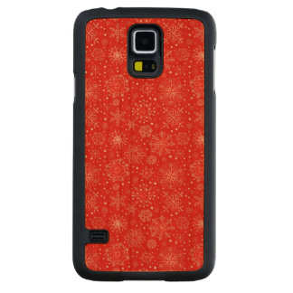 White Snowflakes on Christmas Red Carved Cherry Galaxy S5 Case