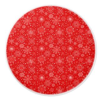 White Snowflakes on Christmas Red Ceramic Knob
