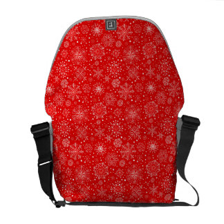 White Snowflakes on Christmas Red Commuter Bag