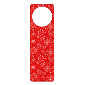 White Snowflakes on Christmas Red Door Hanger