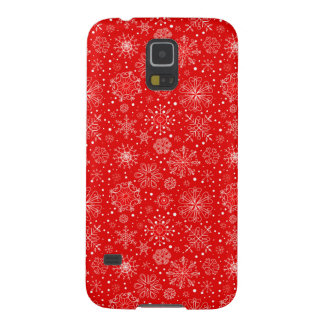 White Snowflakes on Christmas Red Galaxy S5 Cases