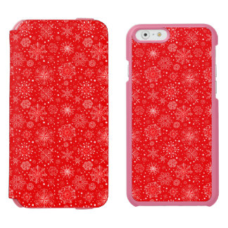 White Snowflakes on Christmas Red Incipio Watson™ iPhone 6 Wallet Case