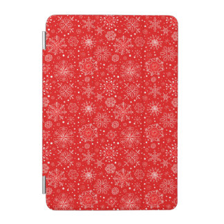 White Snowflakes on Christmas Red iPad Mini Cover