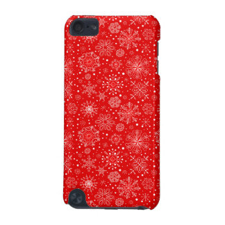 White Snowflakes on Christmas Red iPod Touch (5th Generation) Case
