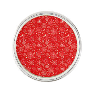White Snowflakes on Christmas Red Lapel Pin