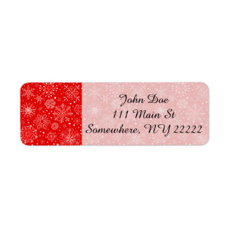 White Snowflakes on Christmas Red Return Address Label