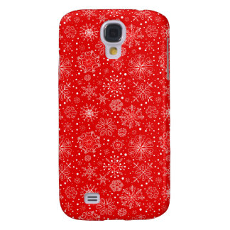 White Snowflakes on Christmas Red Samsung Galaxy S4 Cases